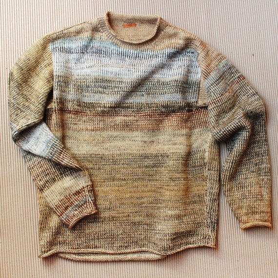 Fire Island Sand Dunes, M mens, L womans  unisex knit cotton tape and kid mohair sweater