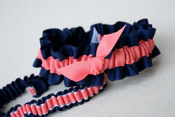 Navy & Coral Wedding Garter Set