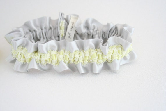 Bridal Garter Set - Yellow and Gray Wedding Garter with Lace - Style 271