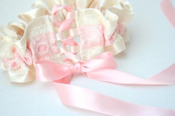 Wedding Garter Set - Pink and Ivory Vintage Lace Bridal Garter Set - Sample Sale