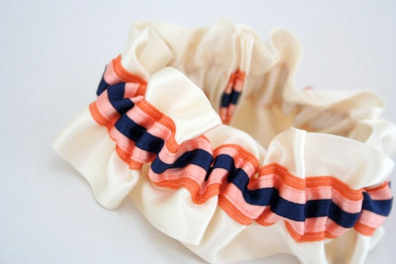 Wedding Garter - Navy, Coral and Ivory Bridal Garter - Clearance Sale
