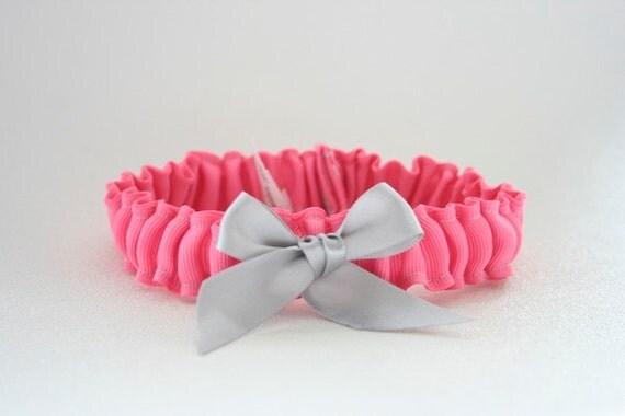 Wedding Garter - Hot Pink and Gray Neon Bridal Garter - Sample Sale
