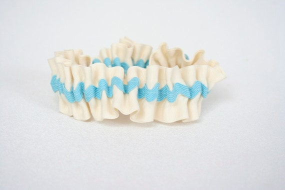 Wedding Garter - Something Blue Chevron Stripe Bridal Garter - Clearance Sale