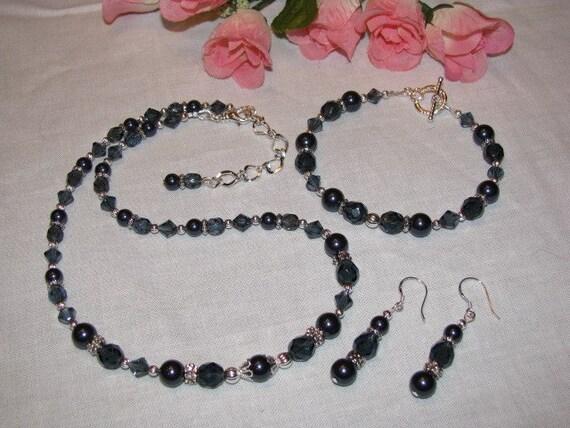 Swarovski Crystal and Pearl Bridesmaid Necklace, Bracelet, Earrings Set-Navy
