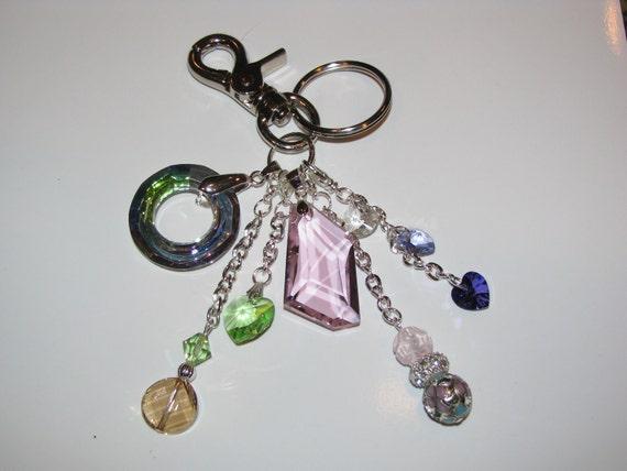 New Swarovski Crystal Gemstone Purse Charm Key Ring Chain with Removable Charms