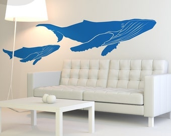 Humpback Whales - Set of 2 - Vinyl Wall Decals