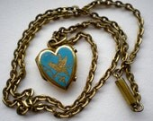 Antique Victorian Bird Heart Locket Necklace