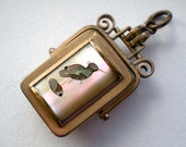 Antique Victorian Bird Locket Mother of Pearl Shell Fob