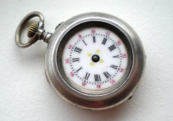Antique Silver Pocket Watch Pendant 1800s