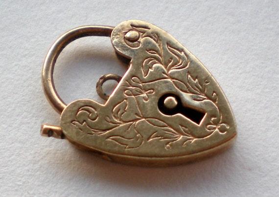Vintage 9K Gold Heart Lock Charm