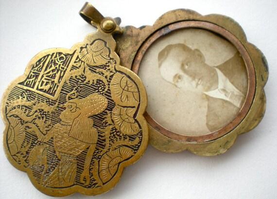 Locket 1920s Egyptian Revival Brass Slide Pendant