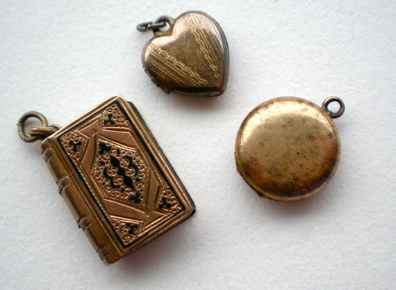 SALE 3pc Tiny Antique Locket Charms Heart Book Round