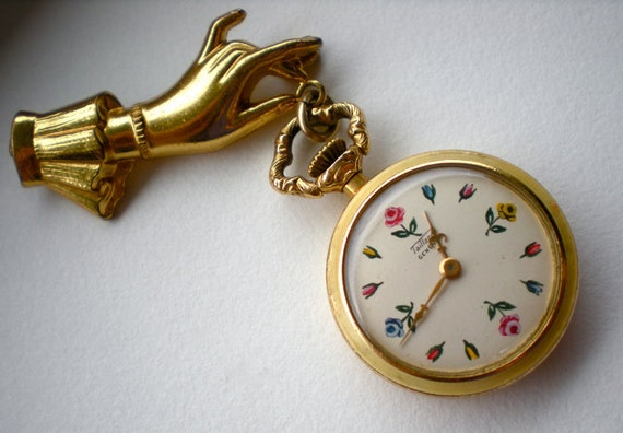 Vintage Rose Watch Brooch Swiss Flower
