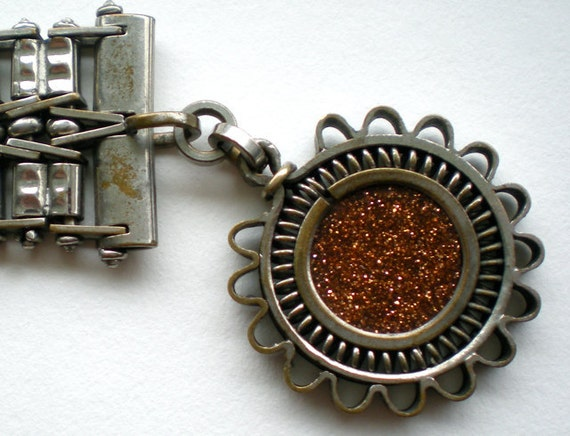 Antique Goldstone Silver Watch Chain