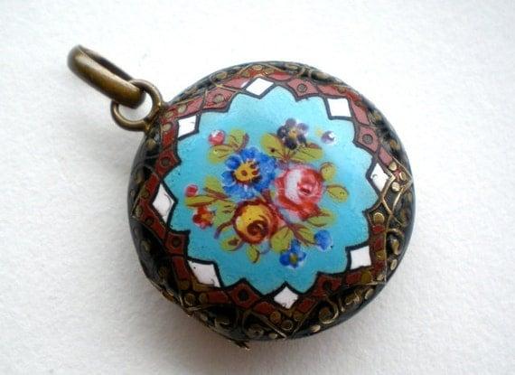 Antique Enamel Locket Painted Rose Flower Bouquet
