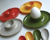Vintage Plastic Egg Cups with Spoons - Set of Four