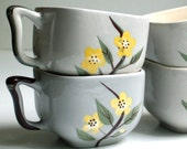 Vintage Weil Ware Coffee Cups / Malay Blossom Pattern / Gray Square / Hand Painted Yellow Flowers / Set of Four