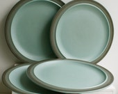 Vintage Arrowstone Stoneware Dinner Plates by Kasuga Japan - Aqua and Brown - Set of Four