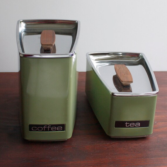 RESERVED FOR JIM Vintage Stacking Kitchen Canisters by Lincoln BeautyWare / Avocado Green / Coffee and Tea