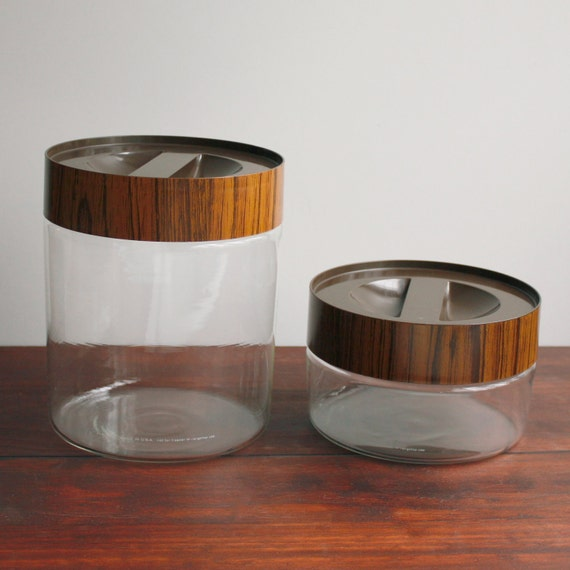 Vintage Pyrex Canisters / Clear Glass with Wood Grain Lids / Set of Two