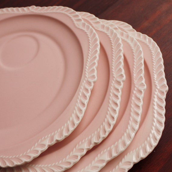 Vintage Pink Plates by Harkerware / Set of Four