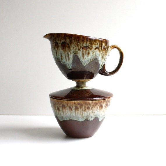 Vintage Creamer and Sugar Bowl Set by Canonsburg Pottery
