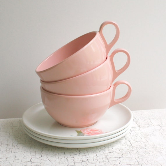 1950s Melamine Pink Cups with Saucers by Brookpark - Only a Rose Pattern - Set of Three