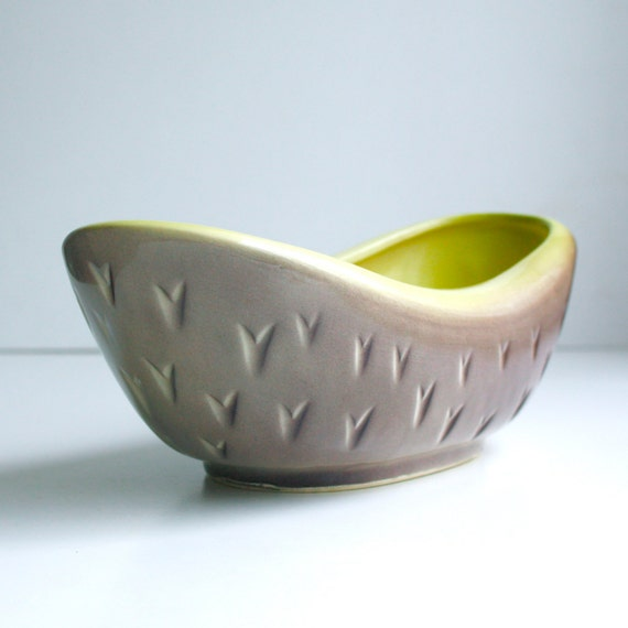 Midcentury Ceramic Bowl - Airbrushed Brown and Chartreuse