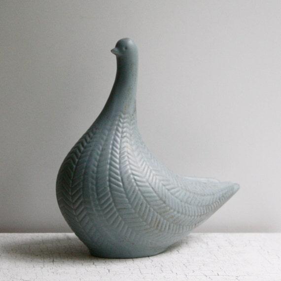 Midcentury Ceramic Bird - Gray Blue - Made in Norway
