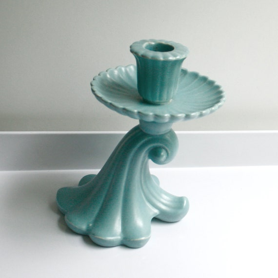 Vintage Red Wing Pottery Candle Holder - Aqua Blue