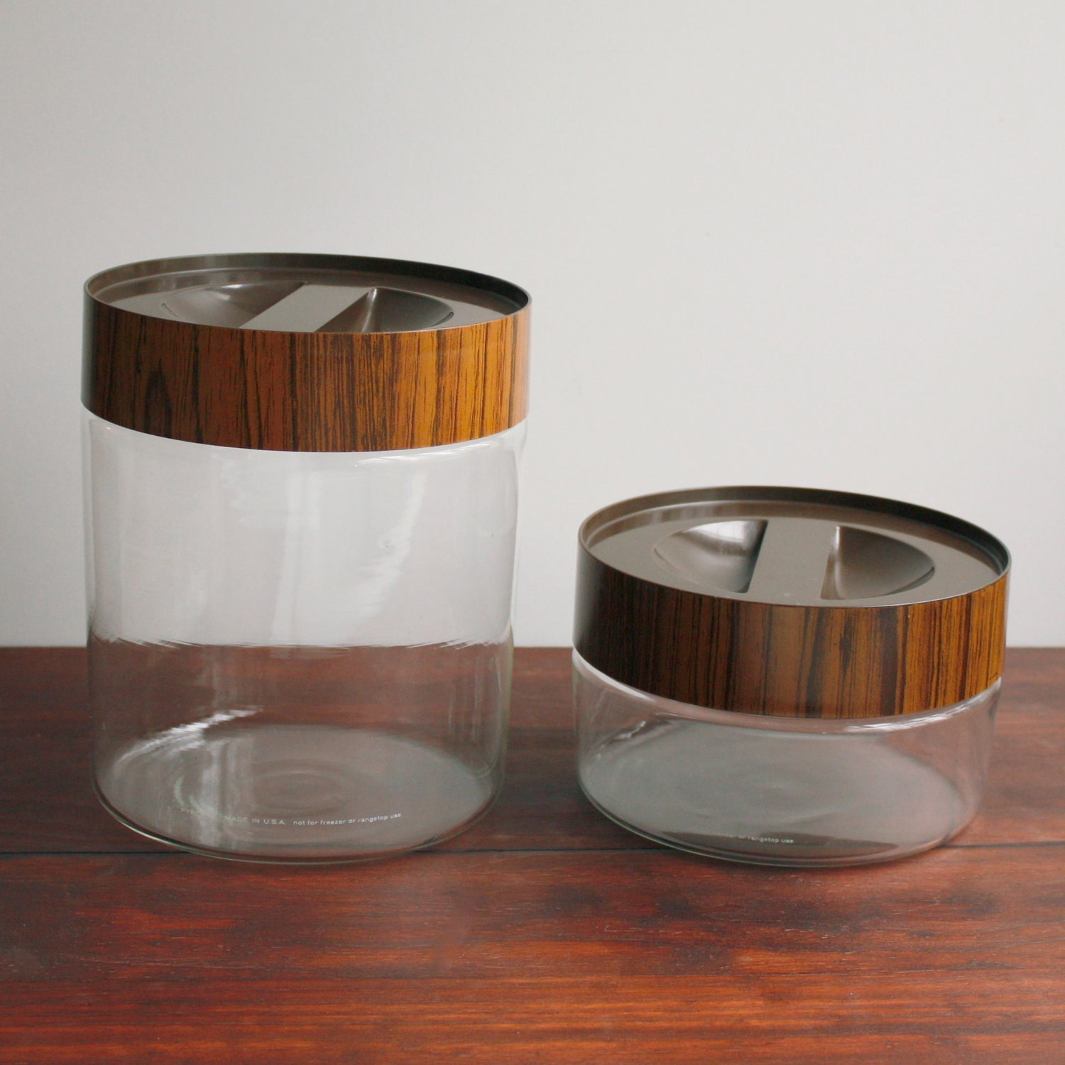 Vintage Pyrex Canisters Clear Glass With Wood Grain Lids