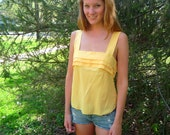 Soft yellow vintage tank top