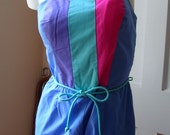 Color block blue 80s romper