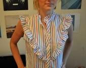 Multi-colored striped vintage blouse