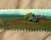 Prairie Folk Art Landscape Farmhouse Pine Tree 21 inch Painted Hand Saw