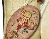 White Rabbit Wall Hanging - StoryBook Edition - Original Handmade Oval Glass Wall Pendant - The Tarty W. Rabbit