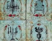 Cottage Chic Parisian Coasters - Vintage Paris Fashion Collection - Handmade Decoupage Glass Beveled Coaster Set - Salon De Paris in Blue