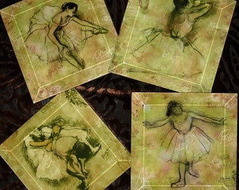Sage Degas Ballerina Handmade Decoupage Glass Beveled Coaster Set  -Vintage Paris Fashion  -  Art Masters Sketchbook Series
