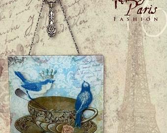 Tea Time Glass Wall Hanging - Vintage Paris Fashion Wall Pendant -  Tea for Two (The pour Deux)