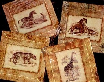 Africa Glass Art  Coasters - Handmade Decoupage Glass Beveled Coaster Set - Vintage Paris -  Out of Africa