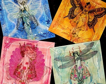 Nouveau Metamorphosis Glass Coasters- Vintage Paris Fashion Collection - Handmade Decoupage Bevelled Glass