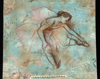 """French Blue Degas Sketchbook Plate - 7, 8, 9, or 10"""" Handmade Decoupage Glass Plates - Art Masters Series-"""