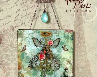 Paris Chic Wall Decor - Vintage Paris Fashion - Glass Wall Pendant - The Royal Nest Series- 3 of 4- Fit for a Queen