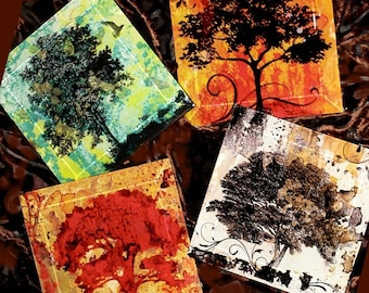 Four Seasons Coaster Set - Geoforms Handmade Decoupage Glass Beveled Coasters - Tree of Life