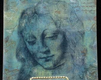 Handmade Decoupage Glass Plates - Art Masters Sketchbook Series- Da Vinci Turquoise
