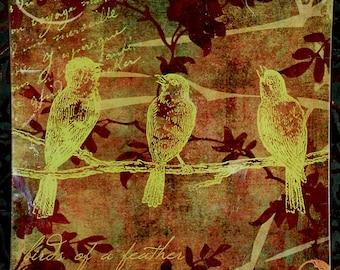 "Vintage Paris Fashion -Handmade 7, 8, 9 or 10""  Decoupage Glass Plate- Lemongrass Birds of a Feather"