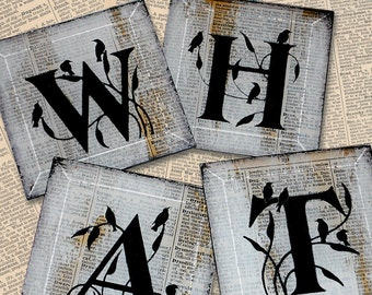 Spell it Out  Personalized Coaster Set of 4 or more from Upcycled Dictionary page book art - Custom WilD WorDz - Keepers of the Wordz