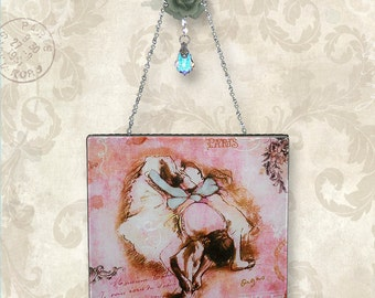 Parisian Pink Ballerina Wall Hanging - Vintage Paris Fashion Glass Wall Pendant - Pink Degas Ballerina