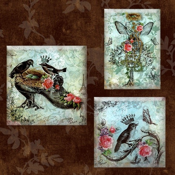 The Royal Nest Wall Decor - WallWearz-  Set of 3 Handmade Decoupage Beveled Glass Wall Hangings