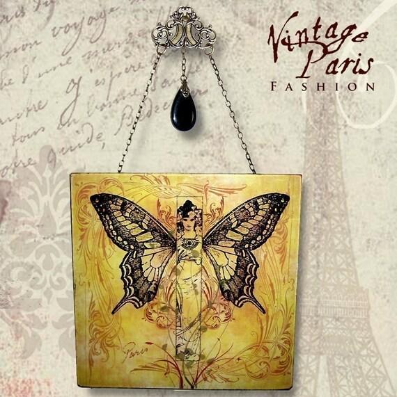 Madame Butterfly Wall Hanging - Vintage Paris Fashion Glass Wall Pendant - Nouveau Metamorphosis 1